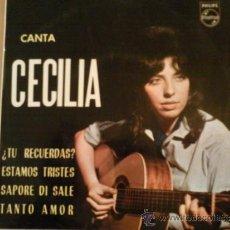 Discos de vinilo: CECILIA CON LOS SONOR - ¿TU RECUERDAS? + 3 (EP DE 4 CANCIONES) PHILIPS 1964. Lote 38592110