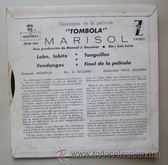 Discos de vinilo: MARISOL - DE LA PELÍCULA TÓMBOLA - 1962 - Foto 2 - 38599729