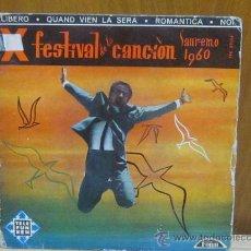 Discos de vinilo: SAN REMO 1960 - TEMAS EN PORTADA. Lote 38605113