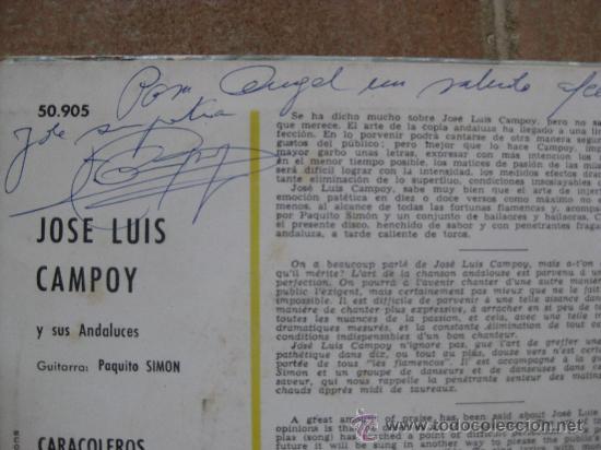 Discos de vinilo: Single Jose Luis Campoy con doble autografo (single + foto) - Foto 3 - 38685876