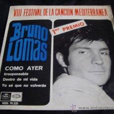 Discos de vinilo: BRUNO LOMAS-COMO AYER-EP. Lote 38694898