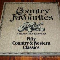 Discos de vinilo: COUNTRY FAVOURITES FIFTY COUNTRY WESTERN CLASSICS CAJA TRIPLE VINILO COMO NUEVO PDI SPAIN V4. Lote 38710520