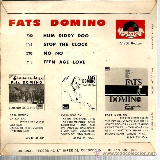 Discos de vinilo: EP FATS DOMINO : HUM DIDDY DOO + 3 - Foto 2 - 38711253