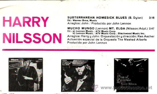 Discos de vinilo: SINGLE HARRY NILSSON , CON PRODUCCION DE JOHN LENNON : SUBTERRANEAN HOMESICK BLUES ( DYLAN ) - Foto 2 - 38711687