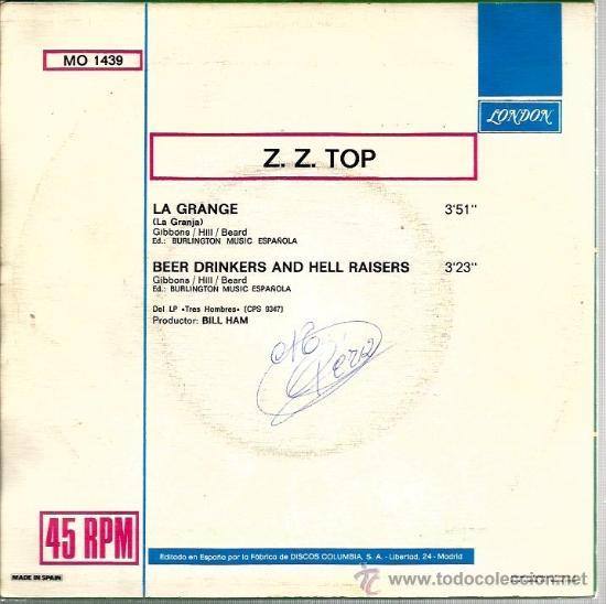Discos de vinilo: SINGLE Z. Z, TOP : LA GRANGE - Foto 2 - 38716258