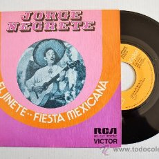 Discos de vinilo: JORGE NEGRETE-EL JINETE-FIESTA MEXICANA-¡¡NUEVO!!-SINGLE-1973-RCA-SPÑ. Lote 38751222
