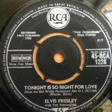 Discos de vinilo: ELVIS PRESLEY - SINGLE INGLES SIN PORTADA. Lote 38757831