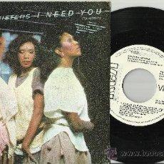 Discos de vinilo: POINTER SISTERS SINGLE PROMOCIONAL I NEED YOU ESPAÑA 1984. Lote 38850895