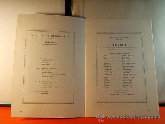 Discos de vinilo: POR LA BOCA DE SU HERIDA-YERMA-FEDERICO GARCIA LORCA-JEAN COCTEAU-EMI-1964-RARISIMO-COMPLETO 2 LP. - Foto 4 - 38853169