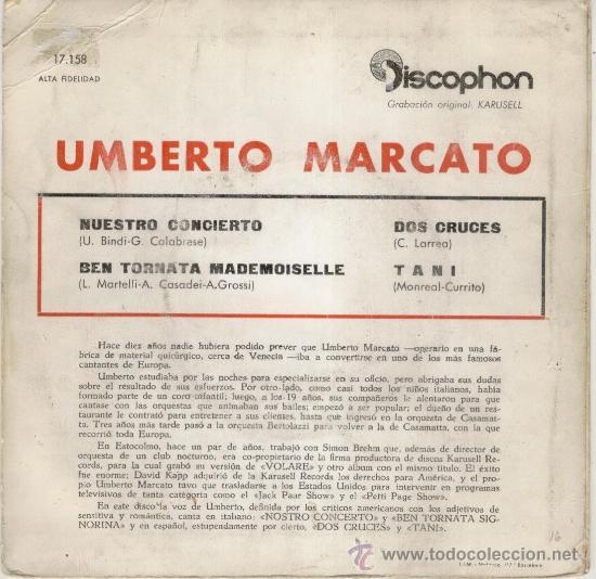 Discos de vinilo: UMBERTO MARCATO - NUESTRO CONCIERTO - DOS CRUCES - TANI - EP SPAIN 1961 VG+ / VG++ - Foto 2 - 38889316