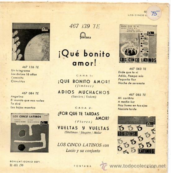 Discos de vinilo: 5 LATINOS, LOS, EP, ¡QUE BONITO AMOR! + 3, AÑO 1960 - Foto 2 - 38912851