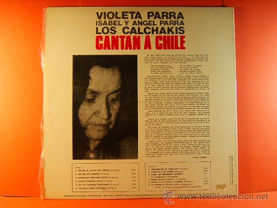 Discos de vinilo: CANTAN A CHILE - VIOLETA PARRA,ISABEL Y ANGEL PARRA,LOS CALCHAKIS - CBS ARION - 1974 - LP ... - Foto 3 - 38923959