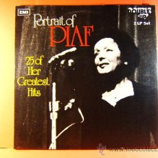 Discos de vinilo: 25 OF HER GREATEST HITS - PORTRAIT OF EDITH PIAF - EMI MADE IN ENGLAND - 1973 ? - DOBLE LP .... Lote 38925290