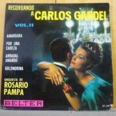 Discos de vinilo: ORQUESTA DE ROSARIO PAMPA - RECORDANDO A CARLOS GARDEL - EP BELTER 1964. Lote 38926034
