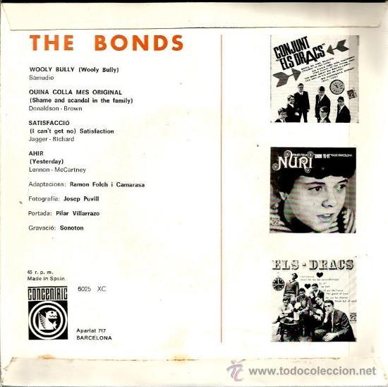 Discos de vinilo: EP THE BONDS : WOOLY BULLY (INCLUYE TEMA DE THE BEATLES Y TEMA DE ROLLING STONES, EN CATALAN ) - Foto 2 - 38930785