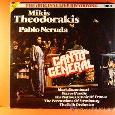Discos de vinilo: CANTO GENERAL PABLO NERUDA - MIKIS THEODORAKIS MARIA FARANTOURI - RCA - GERMANY - 1975 - DOBLE LP.... Lote 38970352