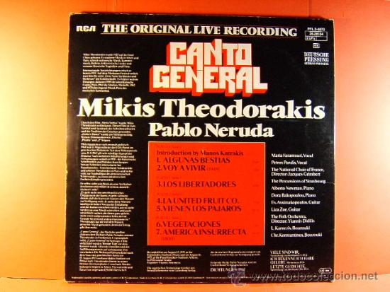 Discos de vinilo: CANTO GENERAL PABLO NERUDA - MIKIS THEODORAKIS MARIA FARANTOURI - RCA - GERMANY - 1975 - DOBLE LP... - Foto 3 - 38970352