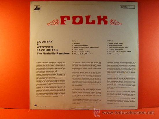 Discos de vinilo: COUNTRY & Y WESTERN HITS FAVOURITES - THE NASHVILLE RAMBLERS - FOLK - CBS USA DIM - 1971 - LP ... - Foto 2 - 38972784