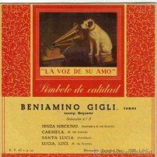 Discos de vinilo: BENIAMINO GIGLI EP SELLO LA VOZ DE SU AMO EDITADO EN ESPAÑA AÑO 1958. Lote 38991714