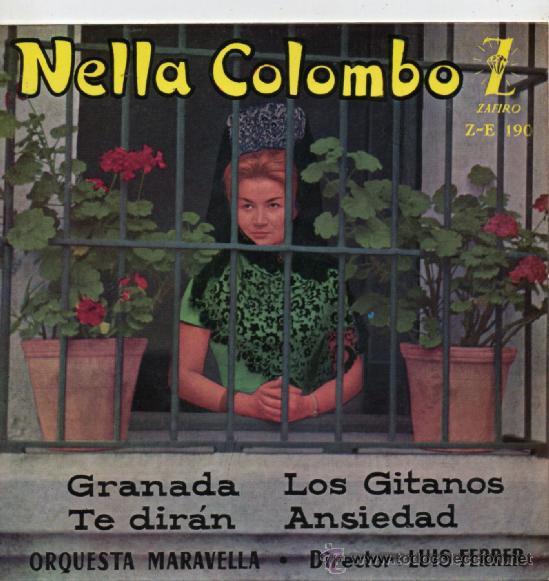 NELLA COLOMBO, EP, GRANADA + 3, AÑO 1960 (Música - Discos de Vinilo - EPs - Canción Francesa e Italiana)
