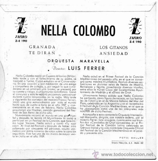 Discos de vinilo: NELLA COLOMBO, EP, GRANADA + 3, AÑO 1960 - Foto 2 - 39002025