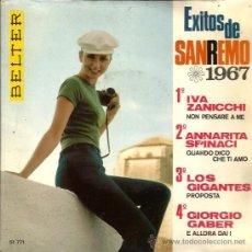 Discos de vinilo: EP SAN REMO 1967 : IVA ZANICCHI + ANNARITA SPINACI + LOS GIGANTES + GIORGIO GABER . Lote 39009900