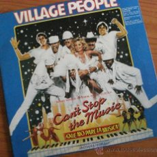 Discos de vinilo: VILLAGE PEOPLE, VINILO CAN'T STOP THE MUSIC, QUE NO PARE LA MUSICA, BANDA SONORA . CUBIERTA DOBLE. Lote 39022238