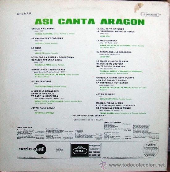 Discos de vinilo: ASI CANTA ARAGON [LP 33 rpm] ***SPAIN*** **1969** - Foto 4 - 39030428