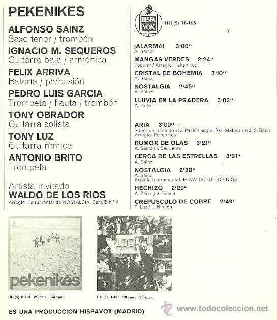 Discos de vinilo: LOS PEKENIQUES LP SELLO HISPAVOX AÑO 1967 EDITADO EN ESPAÑA. CON ENCARTE - Foto 2 - 39062308