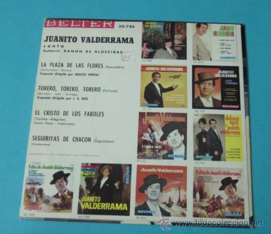 Discos de vinilo: JUANITO VALDERRAMA. EL CRISTO DE LOS FAROLES, SEGUIDILLAS DE CHACON, TORERO,TORERO,TORERO - Foto 2 - 39091770