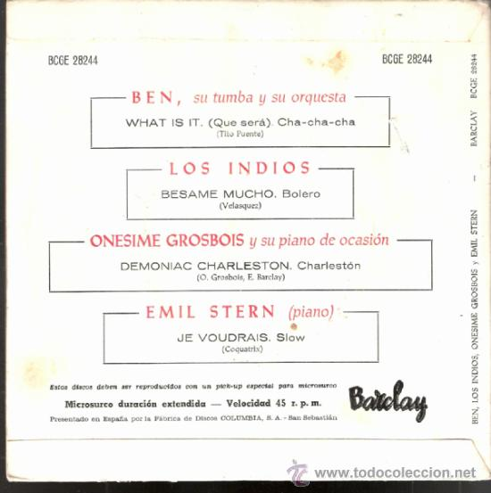 Discos de vinilo: Ben, Los Indios, Onesime Grosbois, Emil Stern. What is it.Besame mucho + 2.Barclay 1960.Todo fotos. - Foto 4 - 39208093