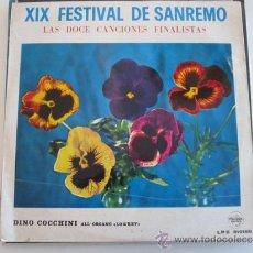 Discos de vinilo: XIX FESTIVAL DE SAN REMO-LAS 12 CANCIONES FINALISTAS. Lote 39238339