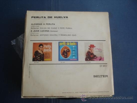 Discos de vinilo: PERLITA DE HUELVA ALEGRIAS A PERLITA / A JUAN LUCENA - Foto 2 - 39090653