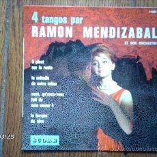 Discos de vinilo: RAMON MENDIZABAL ET SON ORCHESTRE - 4 TANGOS PAR RAMÓN MENDIZABAL - IL`PLEUT SUR LA ROUTE + 3. Lote 39123448