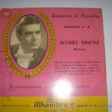Discos de vinilo: ROMANZAS DE ZARZUELAS Nº3. MANUEL AUSENSI. ALHAMBRA. . Lote 39122162