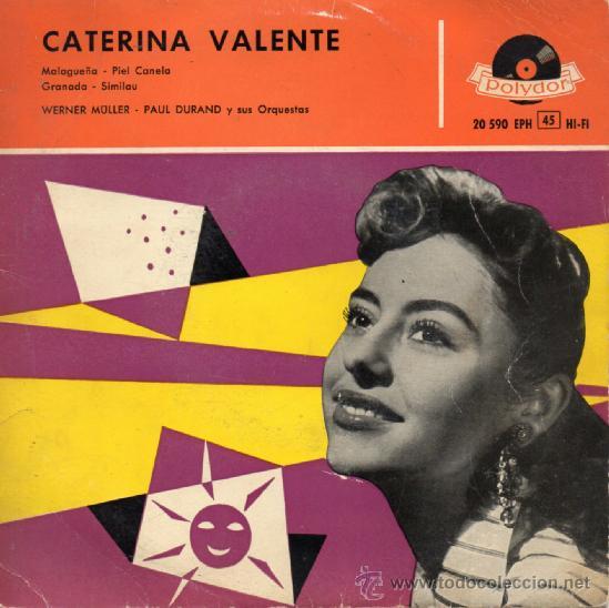 CATERINA VALENTE, EP MALAGUEÑA + 3, AÑO 1.959 (Música - Discos de Vinilo - EPs - Canción Francesa e Italiana)