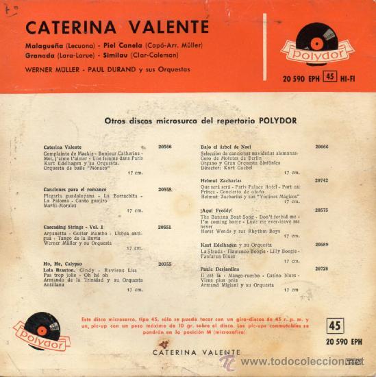 Discos de vinilo: CATERINA VALENTE, EP MALAGUEÑA + 3, AÑO 1.959 - Foto 2 - 39127758