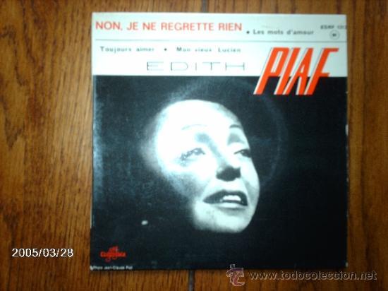 EDITH PIAF - NON, JE NE REGRETTE RIEN + 3 (Música - Discos de Vinilo - EPs - Canción Francesa e Italiana)