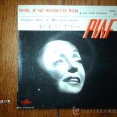 Discos de vinilo: EDITH PIAF - NON, JE NE REGRETTE RIEN + 3. Lote 39148950