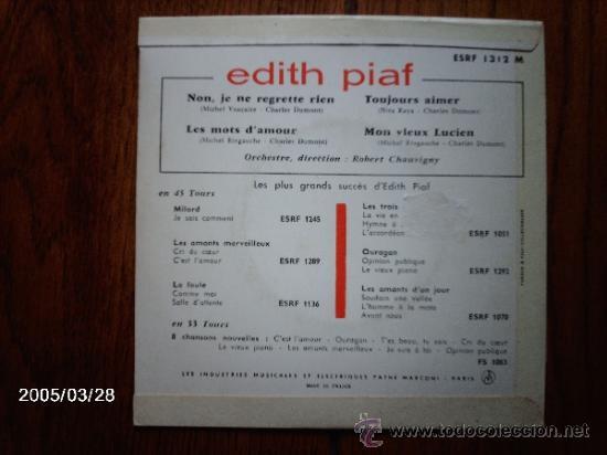 Discos de vinilo: edith piaf - non, je ne regrette rien + 3 - Foto 2 - 39148950