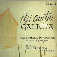 Discos de vinilo: CORAL RUADA DE ORENSE LP SELLO HISPAVOX EDITADO EN ESPAÑA AÑO 1959. Lote 39142524