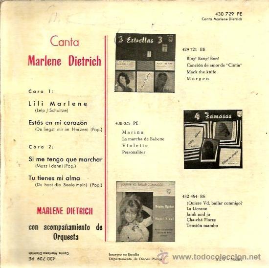 Discos de vinilo: EP CANTA MARLENE DIETRICH : LILI MARLENE - Foto 2 - 39160077