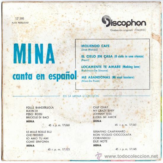 Discos de vinilo: MINA canta en español, EP, MOLIENDO CAFE + 3, AÑO 1961 - Foto 2 - 39169129