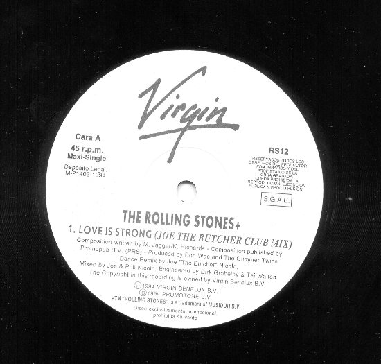Discos de vinilo: ROLLING STONES MAXI SINGLE LOVE IS STRONG PROMO VIRGIN W/L SPAIN NUEVO MUY RARO - Foto 2 - 39125248