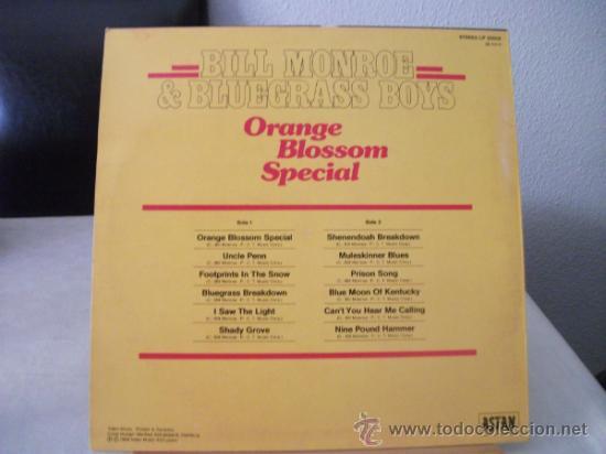 Discos de vinilo: LP DE BILL MONROE & BLUEGRASS BOYS, ORANGE BLOSSOM SPECIAL, AÑO 1984, EDICION ALEMANA - Foto 2 - 39233367