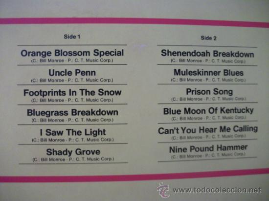 Discos de vinilo: LP DE BILL MONROE & BLUEGRASS BOYS, ORANGE BLOSSOM SPECIAL, AÑO 1984, EDICION ALEMANA - Foto 3 - 39233367