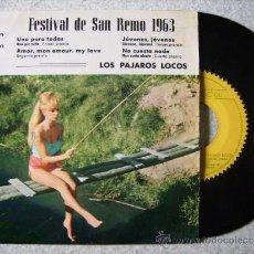 Discos de vinilo: LOS PAJAROS LOCOS...UNO PARA TODAS + 3. Lote 39255910