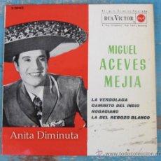 Discos de vinilo: ANTIGUO DISCO VINILO SINGLE DE MIGUEL ACEVES MEJIA - Y EL MARIACHI DE TECALITLAN - VERDOLAGA, CAMINI. Lote 39264013