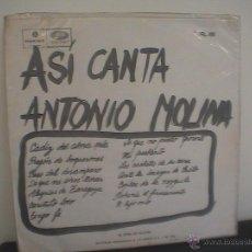 Discos de vinilo: ANTONIO MOLINA. Lote 39299791