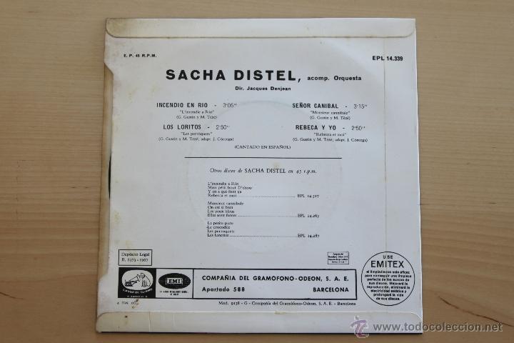 Discos de vinilo: SACHA DISTEL - INCENDIO EN RIO +3 - Foto 3 - 39326442